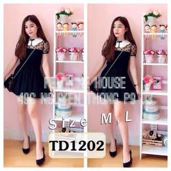 Set áo cổ sen lưới bi chân váy đen TD1202