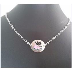 Dây chuyền mặt Oval hình chim và hoa hồng dễ thương cho bé gái