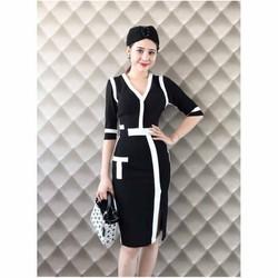 Đầm ôm phối sọc trắng đen