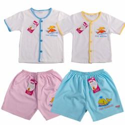 Combo 2 bộ Áo cổ tim và quần ngắn Gembaby cho bé 0-24 tháng GB1104