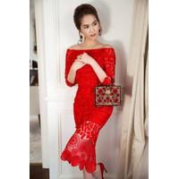 Đầm đẹp dự tiệc cưới với chất liệu ren cao cấp như Ngọc Trinh M3837