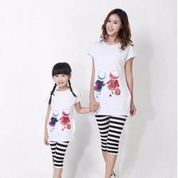 Set đồ đôi mẹ bé áo form dài quần sọc ngang