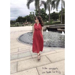 Đầm Vintage voan đỏ