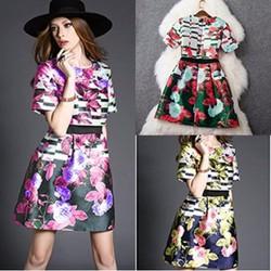 Đầm Hoa Hồng Xếp Ly