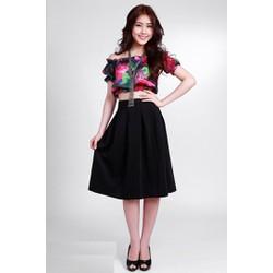 Set váy áo croptop thiết kế ngang vai xinh xắn