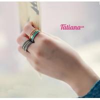 TATIANA - SET 6 NHẪN MIDI VIỀN XANH CAM N2266