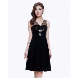 Đầm Xếp Ly Xòe Phối Kim Sa - DHD06