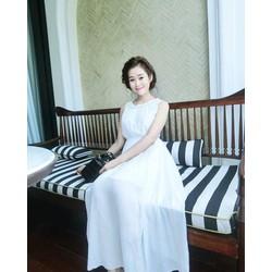 Đầm maxi voan cổ bính