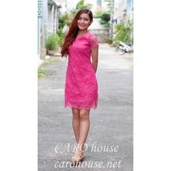 Đầm suông ren hồng ngọt ngào