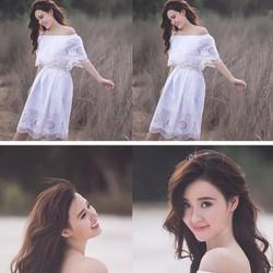 Đầm Maxi Trễ Vai Ren Thêu Xinh Như Midu- D194