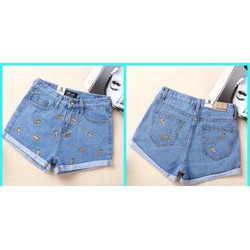 Quần short jeans nhạt màu thêu hình quả chuối