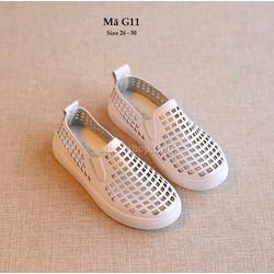 Giày da cho bé trai 3 - 6 tuổi kiểu dáng đục lỗ thoáng mát G11 trắng