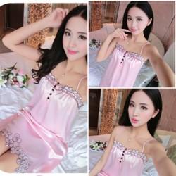Đầm ngủ 2 dây viền hoa gợi cảm,xinh đẹp-DN389