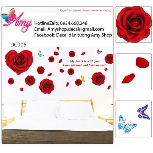Decal dán tường hoa hồng trái tim đỏ - 3949505 , 3326229 , 15_3326229 , 75000 , Decal-dan-tuong-hoa-hong-trai-tim-do-15_3326229 , sendo.vn , Decal dán tường hoa hồng trái tim đỏ