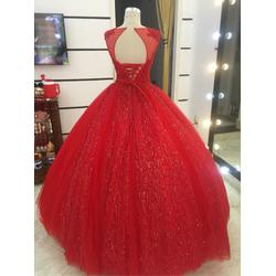 áo cưới đỏ ren  lấp lánh. hàng có sẵn