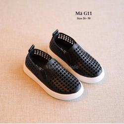 Giày da cho bé trai 3 - 6 tuổi kiểu dáng đục lỗ thoáng mát G11 đen