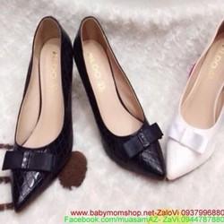 Giày cao gót mũi nhọn có nơ thời trang cho nàng công sở hàng  GC128