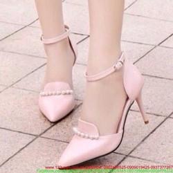 Giày cao gót công sở mũi nhọn đính ngọc trai sang trọng GCG128