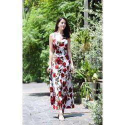 Đầm Maxi Hoa Hồng Dây Chéo Lưng X001S