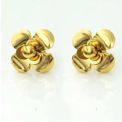 Bông tai hoa hồng vàng Ti-Tan không đen
