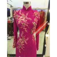 áo dài hồng ren 3d.chuyên sỉ áo cưới ao dai studio