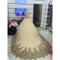 áo cưới da chan ren cao đuôi dai 1m sale ja cực mềm cho cd chup hinh