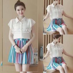 Sét áo dập ly tay bèo +Chân váy xòe màu xinh iu - SETKN175