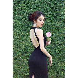 Đầm đen hở lưng đẹp thiết kế ôm body cực tôn dáng M3899