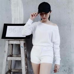 áo thu tay dài lệch vai chất nỉ da cá dày dặn - trắng