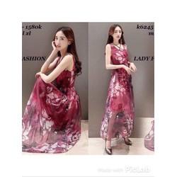 Đầm maxi voan hoa 3D