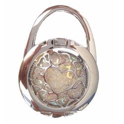 Móc treo túi trái tim bạc có gương và giá đỡ điện thoại - Tặng hộp quà