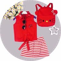 Set đầm kitty đỏ kèm balo