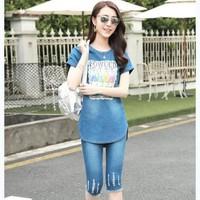 Set đồ bộ jean in họa tiết FOWUCD BY 6058