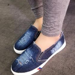 Giày slip on Jean rách wax màu đậm