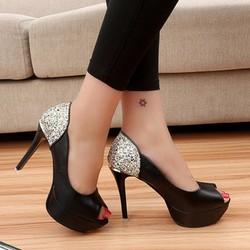 Giày cao gót kim tuyến hở mũi sang trọng - GHD01