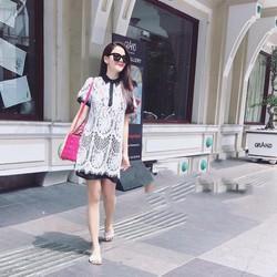 Đầm Suông Ren Hoa Văn Cổ Sơ Mi