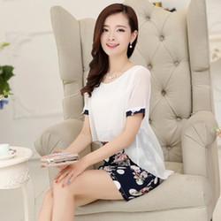 Váy ôm in hoa liền áo chiffon ngắn tay cổ tròn - MU18318