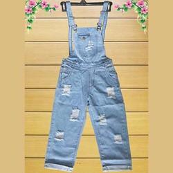 Quần Yếm Jeans Rách Dài Xanh Nhạt