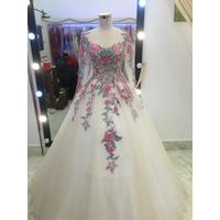 áo cưới tay dai ren 3d sang trọng .
