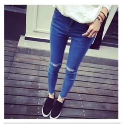 Q373-Quần Jean dài rách 2 bên đầu gối cá tính