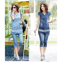 Set độ bộ  jean  cao cấp 3 viền trắng  BY6059