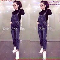 Quần yếm jean nữ dài đơn giản xinh xắn QYB111