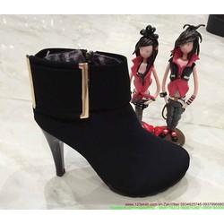 Giày boot nữ oxford cổ cao tag sắt thu đông sành điệu GUBB32