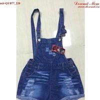 Quần yếm jean short rách bụi đáng iu QYB77