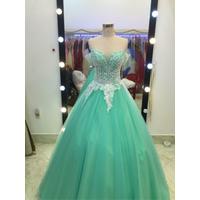 áo cưới xanh ngọc giá mềm tay ngang rất xinh
