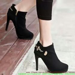 Giày boot nữ oxford skull thu đông sành điệu GUBB39