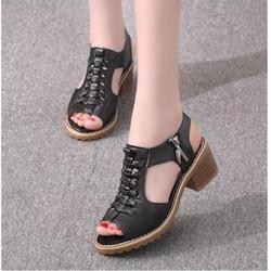 SD02D- Sandal cao gót có khóa kéo