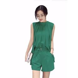 Set quần ngắn + áo xiết ly Hot Trend Hàn Quốc - B1365