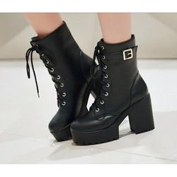 Giầy boots nữ cao cổ đế thấp GBC 003