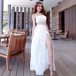 Set áo ren cúp ngực + váy maxi Nana